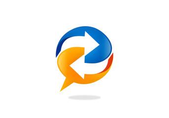 talk bubble speech arrow circle logo