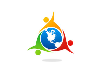 teamwork group world people unity vector logo