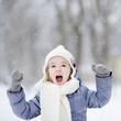 Little girl having fun at winter