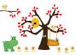 sowa na drzewie i hipopotam