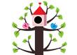 ptaszki i domek na drzewie