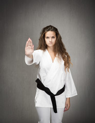 judo girl stop with hand
