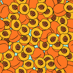 Peach seamless pattern.
