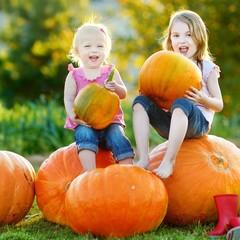Two little sisters sitting on huge pumpkins