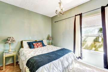Light mint bedroom with bed