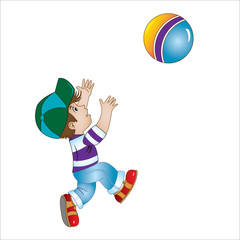 boy in a cap plays with a ball