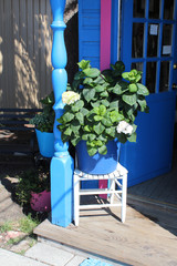 Entrée de maison fleurie