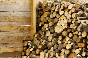 Firewood wooden barn detail