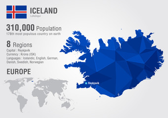 Iceland island world map with a pixel diamond texture.
