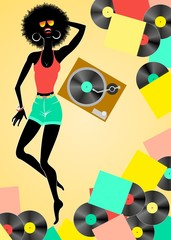 African girl listening to vinyl recorder