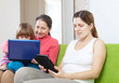 famil with electronic devices at home