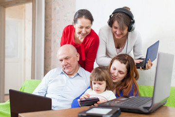 multigeneration family uses  various electronic devices