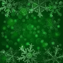 Background of snowflakes in green colors