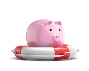protection piggy bank (investment) with lifebuoy