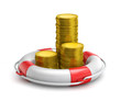 canvas print picture - stacks of coins inside lifebuoy