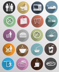 flat icons set design for cafe .Vector illustration