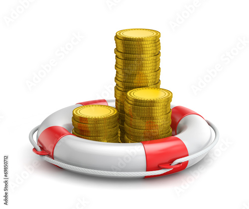 canvas print picture stacks of coins inside lifebuoy