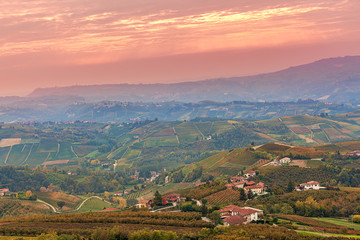 Autumnal hills and vineyards at sunset.