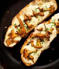Bruschetta with chanterelle mushrooms and mozzarella cheese