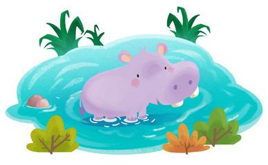 hipopótamo bebe en el agua