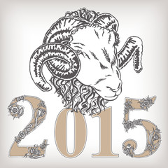 Hand drawn template with ornament letter and decorative sheep.