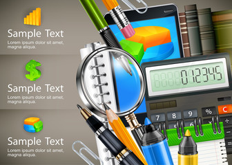Stationery, equipment and info graphic for business, vector