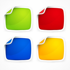 Four colored stickers with rounded corner, vector illustration
