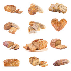 set of different whole wheat bread