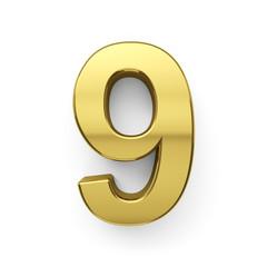 3d render of golden digit nine simbol - 9