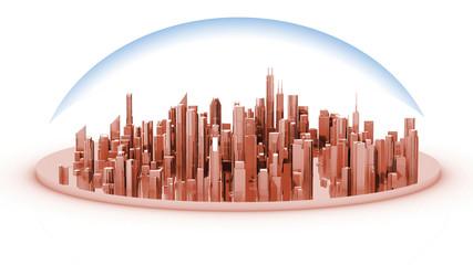 La maquette d'une ville surmonté d'une hémisphere
