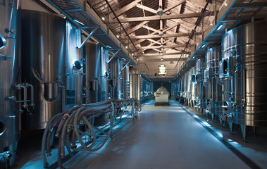 interior photo of contemporary winemaker factory