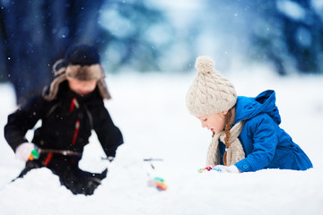 Kids outdoors at winter