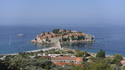Sveti Stefan, view form the top, Montenegro
