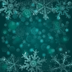 Background of snowflakes in cyan colors
