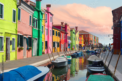 Fotobehang Venice Colorful houses in Burano village on sunset