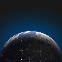 World globe connections network design illustration