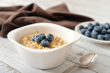 Porridge with fresh blueberry
