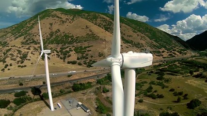 Aerial view of wind turbine up close