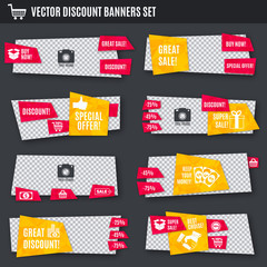 Discount banners yellow and red set