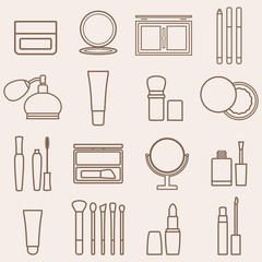 Set of silhouette beauty and cosmetics icons