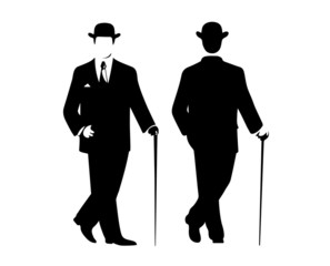 silhouette of the gentleman in a fashionable suit