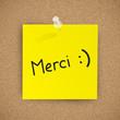 """Message """"MERCI"""" (remerciements gratitude mot papier note)"""