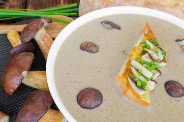 Mushroom cream soup with toast and fresh herbs