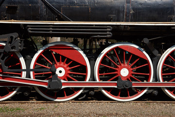 Wheels of a historic steam train in Santiago, Chile