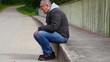 Depressed man man screaming on the bridge