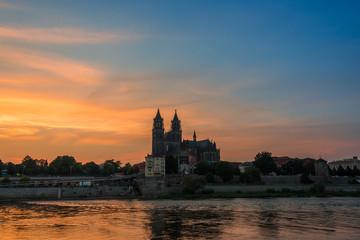 Cathedral of Magdeburg at the river Elbe at sundown, Magdeburg