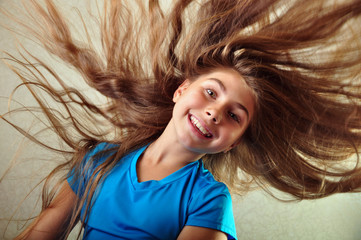 adorable child with floating hair