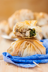 pies of filo pastry with chicken and spinach