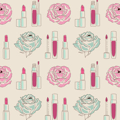 Woman beauty products for make up seamless pattern