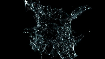 Water explosion on black (slow motion,alpha matte, full hd)